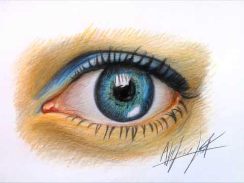 Dibujando Ojo Realista Con Lapices Youtube