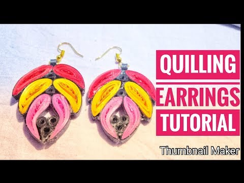 Quilling earrings tutorial in tamil/Quilling feather earrings/diy earrings/quilled earring