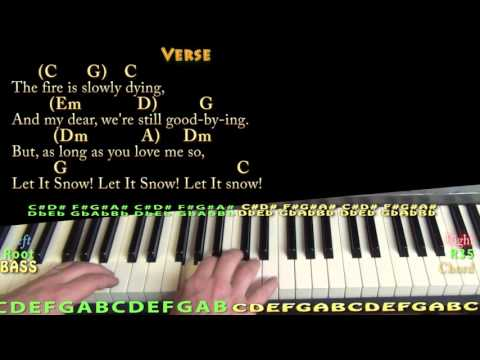 Let It Snow! - Piano Cover Lesson in C with Chords/Lyrics