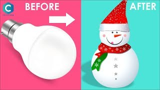 How to Make Snowman with Cotton & Bulb | Snowman Making with Cotton | #snowman #christmas #cotton