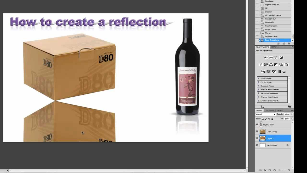 Photoshop tutorial how to create a reflection youtube baditri Choice Image