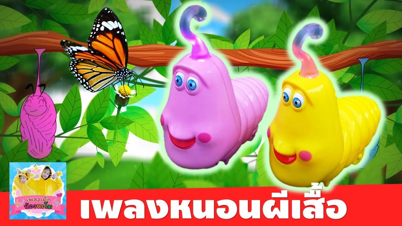 เพลง หนอนผีเสื้อ | หนอน LARVA สีชมพูและสีเหลืองเต้นประกอบเพลง | รีวิวของเล่นหนอน LARVA ชนถอย