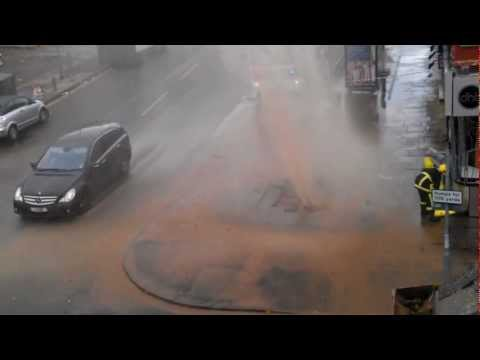 Water Mains Burst / Fountain on Bury New Road, Prestwich Manchester, UK