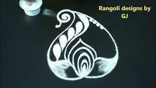 Simple freehand rangoli designs, freehand kolam, easy muggulu designs without dots