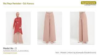 Gül Kurusu Bol Paça Pantolon - Tesettür Pantolon Modelleri