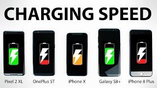 Pixel 2 XL vs OnePlus 5T vs iPhone X vs S8 Plus - FAST CHARGING SPEED Test!