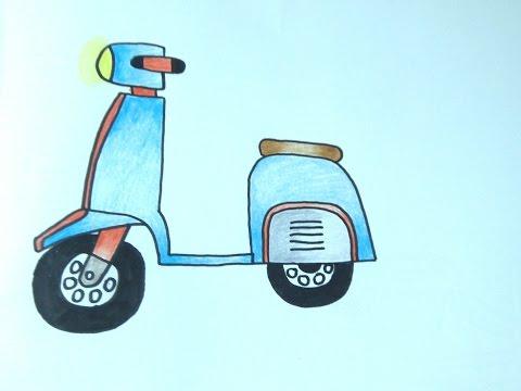 รถมอเตอร์ไซค์เวสป้า Vespa สอนวาดรูปการ์ตูนน่ารักง่ายๆ สอนวาดรูปการ์ตูนระบายสี