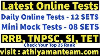 Latest Online Tests - RRB Group D and ALP -TNPSC, SI  Daily Online Tests 12 SETS - Mock Test 8 SETS