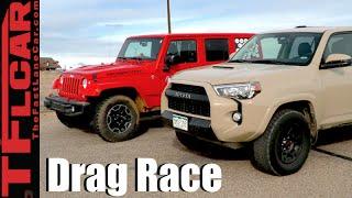 2016 Toyota 4Runner TRD Pro vs Jeep Wrangler Rubicon Drag Race