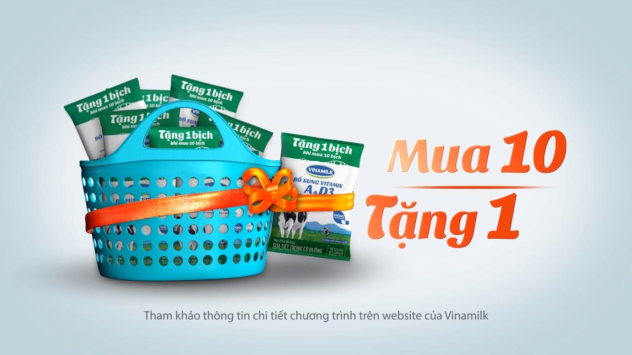 Quảng cáo Vinamilk – Sữa bịch Vinamilk – Khuyến mãi tặng 1 bịch khi mua 10 bịch