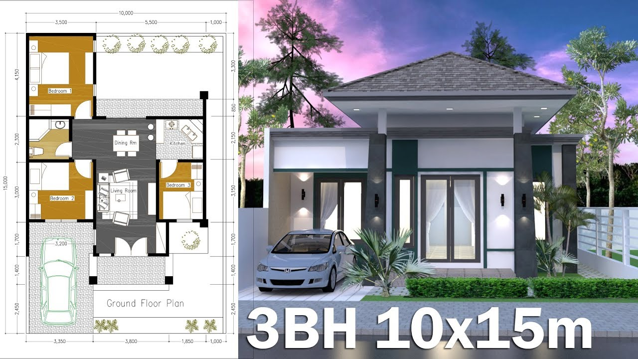 10x15m Home Design Plan One Story House 3 Bedroom