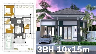 10x15m Home Design Plan | One Story House | 3 Bedroom | Sketchup Design