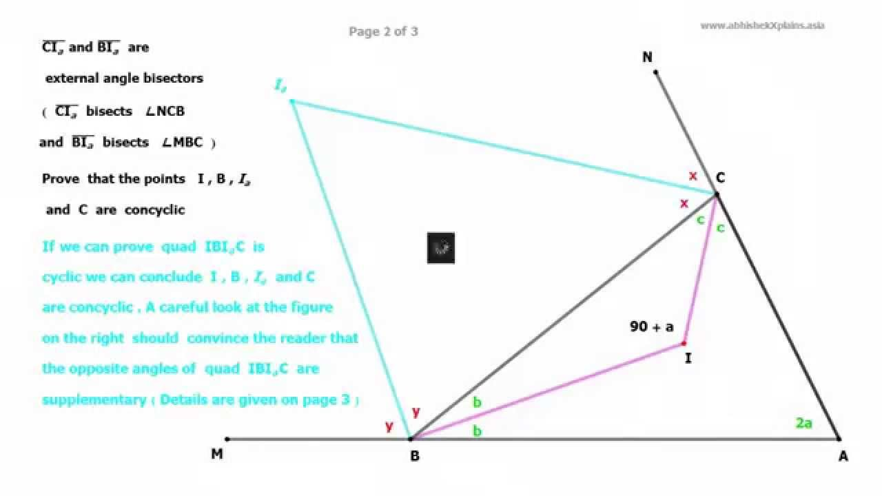 Awesome Internal And External Angle Bisectors Of Any Triangle Form Cyclic Quad (  Part 2 Of 3 )