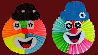 How to make paper clown.Easy crafts with colored/coloured paper to do at home.