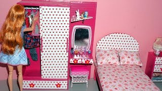 How to make a wardrobe with a dressing/vanity table for dolls - miniature crafts DIY
