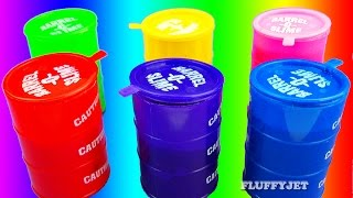 Learn Colors for Children with Slime Barrel Surprise Toys Dora Paw Patrol Elmo Hello Kitty Minions