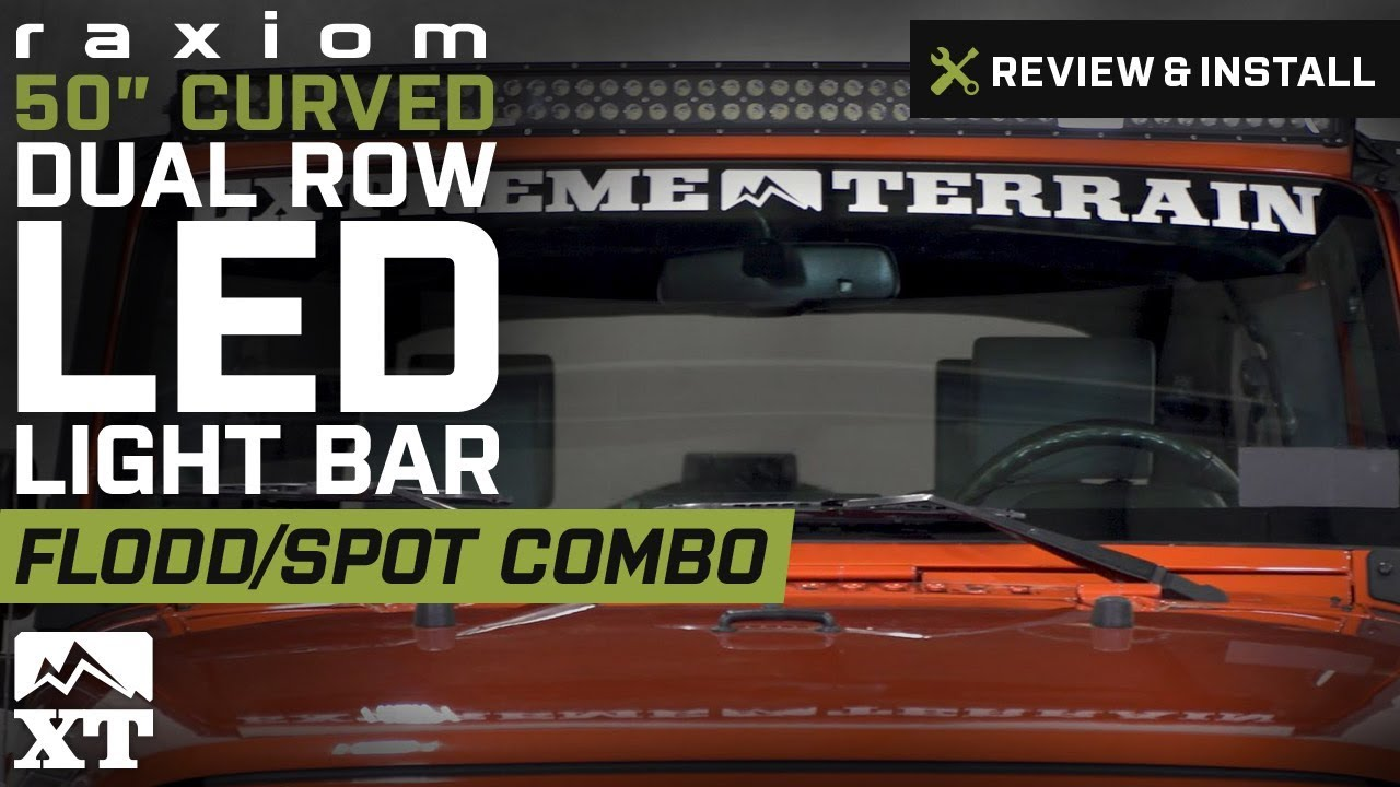 Jeep Wrangler Raxiom 50curved Dual Row Led Light Bar Flood Spot Wiring Combo Review Install