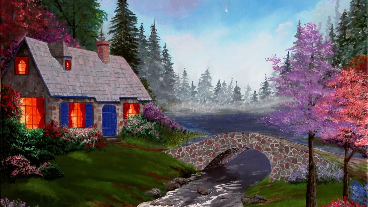 Summer Cottage Acrylic Painting Demonstration