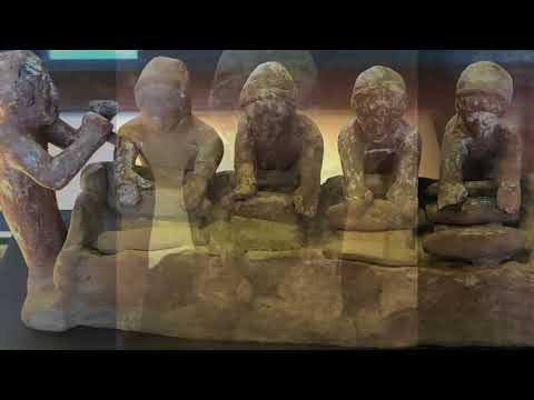 GREEK bread making from ancient clay sculpture at louvre Museum France