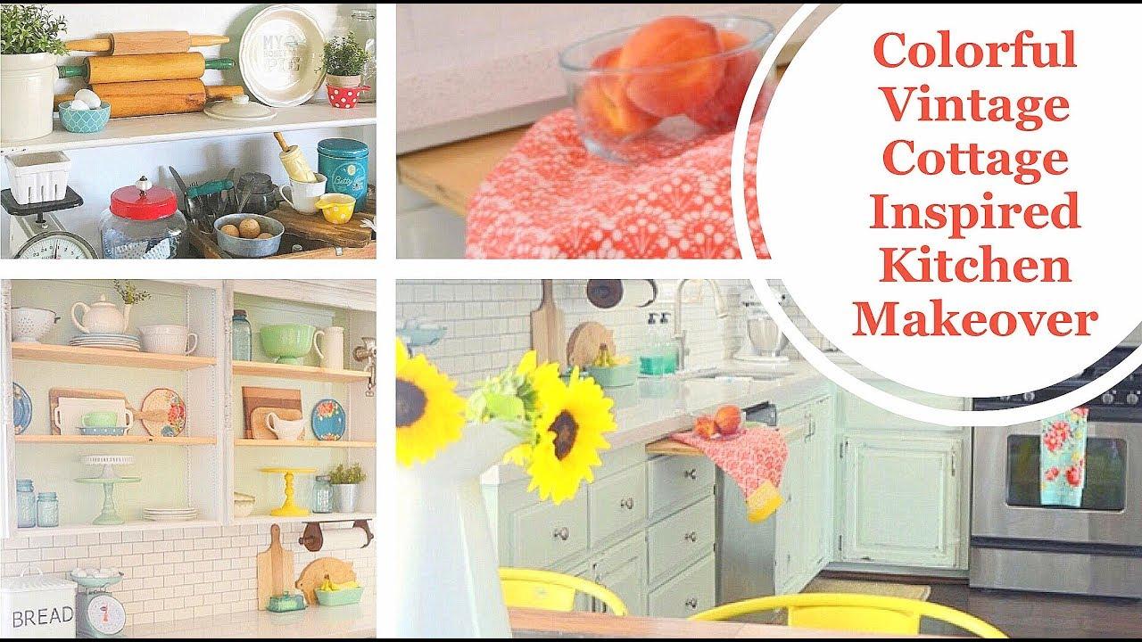 colorful kitchen cottage vintage inspired makeover 2017 youtube