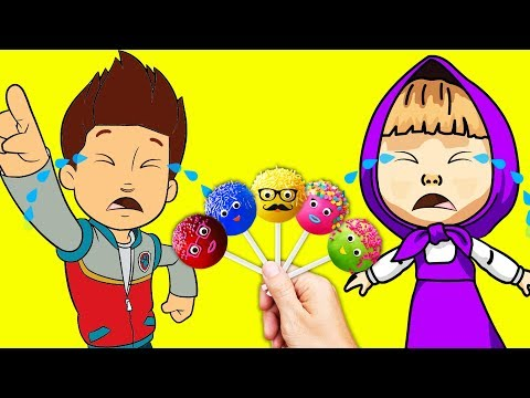 Thumbnail: Bad Baby Ryder and Masha Crying for Cake Pops Little Kids Learn Colors with Finger Family Song