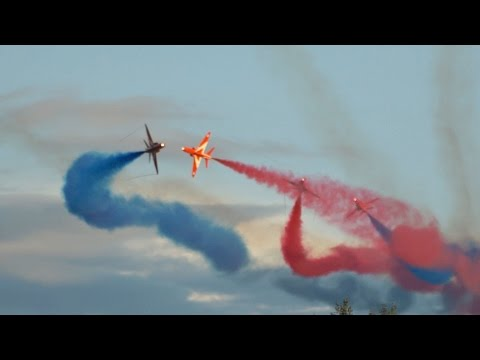 The Red Arrows from the Royal Air Force RAF flying Display at Sanicole Sunset AirShow 2015 Belgium