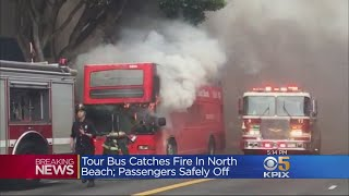 Andrea Nakano reports on driver of tour bus suffering some smoke in...