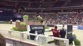 JOS VERLOOY with Sunshine winning 2015 Puissance at WIHS
