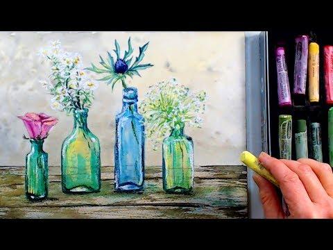 LIVE: Wildflowers in Bottles in Watercolor & Pastel