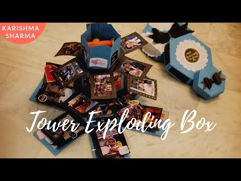 Easy Birthday Tower Exploding Box Idea   How to Make Hexagon Tower Exploding Box for Anniversary