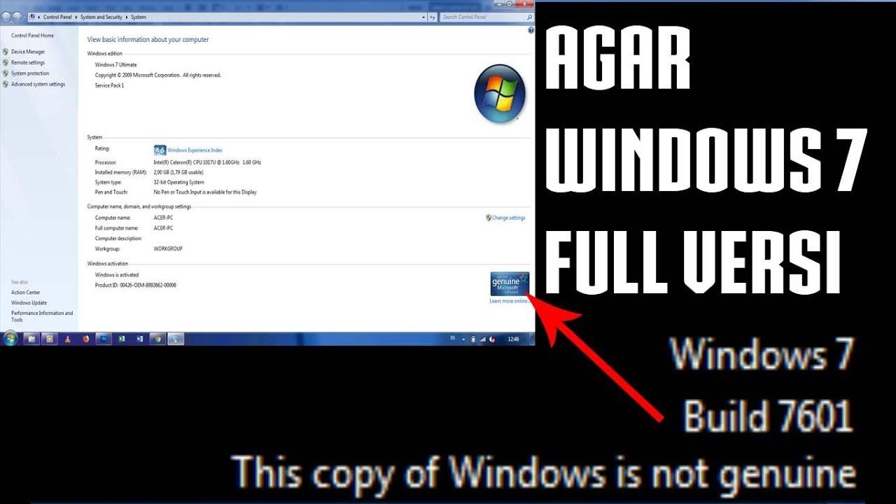 Cara Membuat Windows Menjadi Full Versi Genuine Mengatasi Windows 7 Build 7601 Youtube