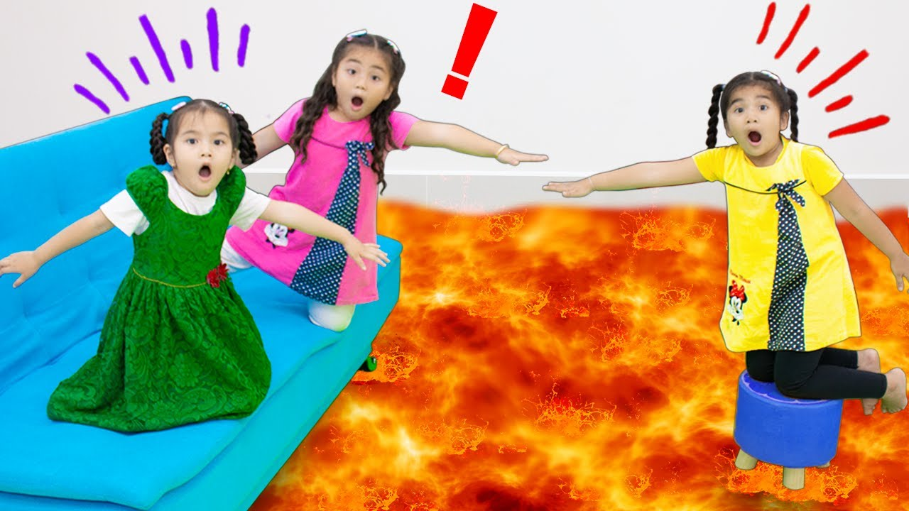The Floor is Lava with Annie and Suri | Funny Pretend Play Kids Video with Children Toys