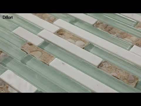 Beach Style Glass Tile MOP in Resin Kitchen Backsplash Tile