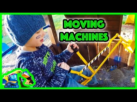 Child playing with Toy Digger – Construction Vehicles by Moving Machines