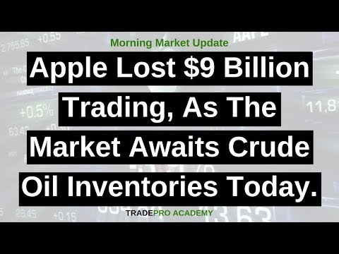 Apple lost $9 billion trading, as the market awaits crude oil inventories today.