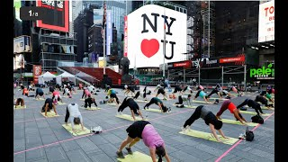 Solstice Yoga - Times Square in New York City