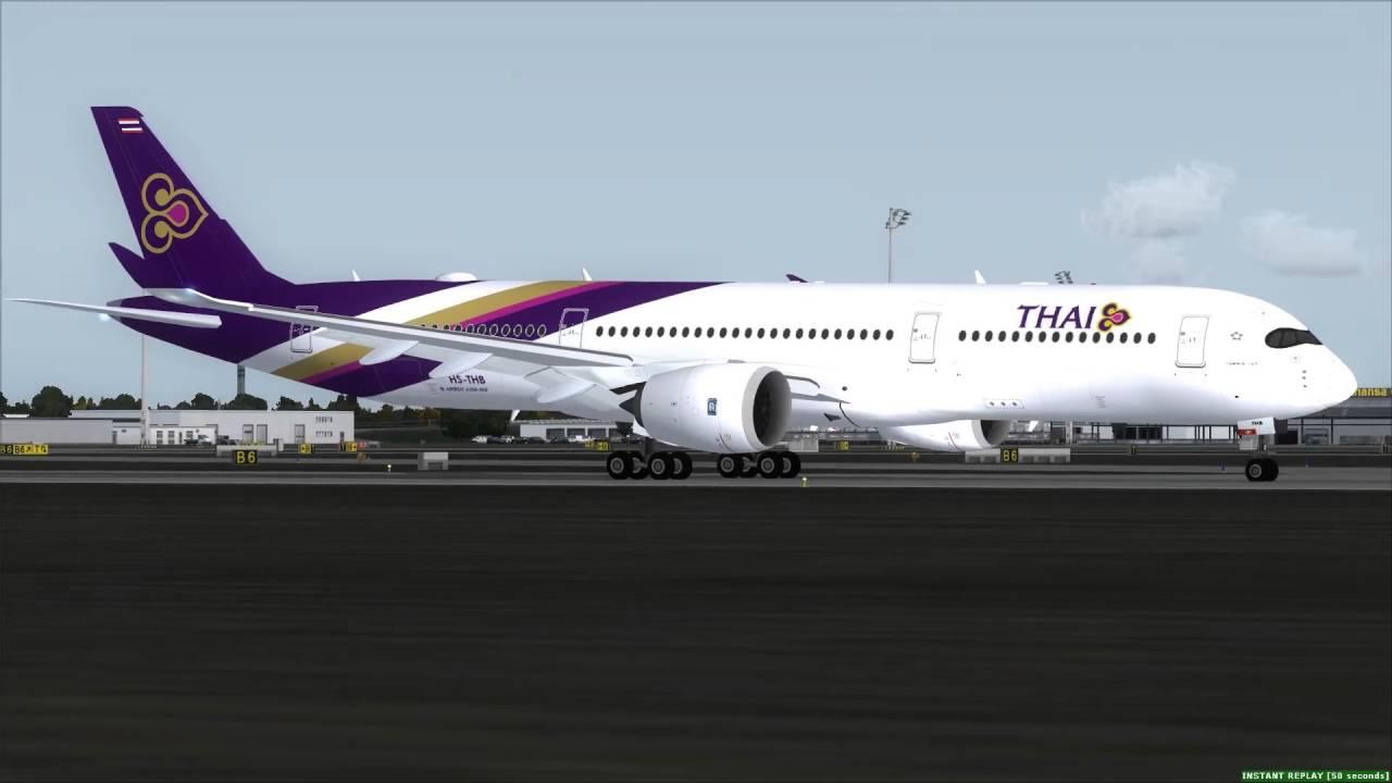 Thai Airways A350-900 take off Munich [FSX]
