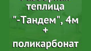 Разборная теплица Агросфера-Тандем, 4м + поликарбонат обзор АГС040 производитель Агросфера (Россия)