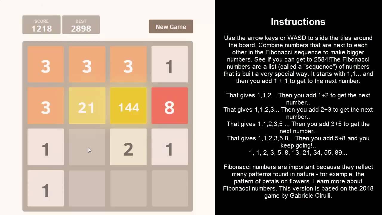 How To Play 2048 Fibonacci Coolmath