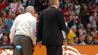 Dave Rose gets technical foul in WCC Championship game