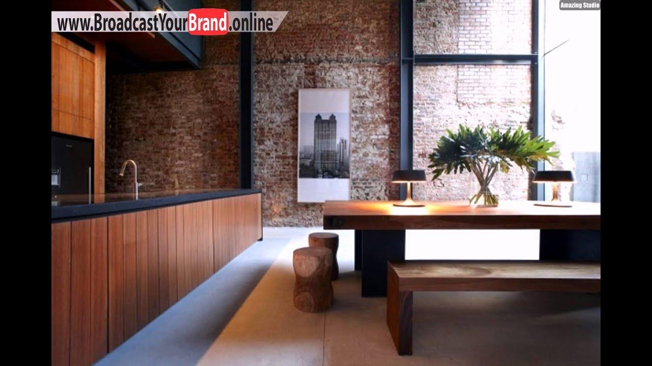 unbehalndelte ziegelwände holzdielen küche essbereihc - youtube - Holzdielen In Der Küche