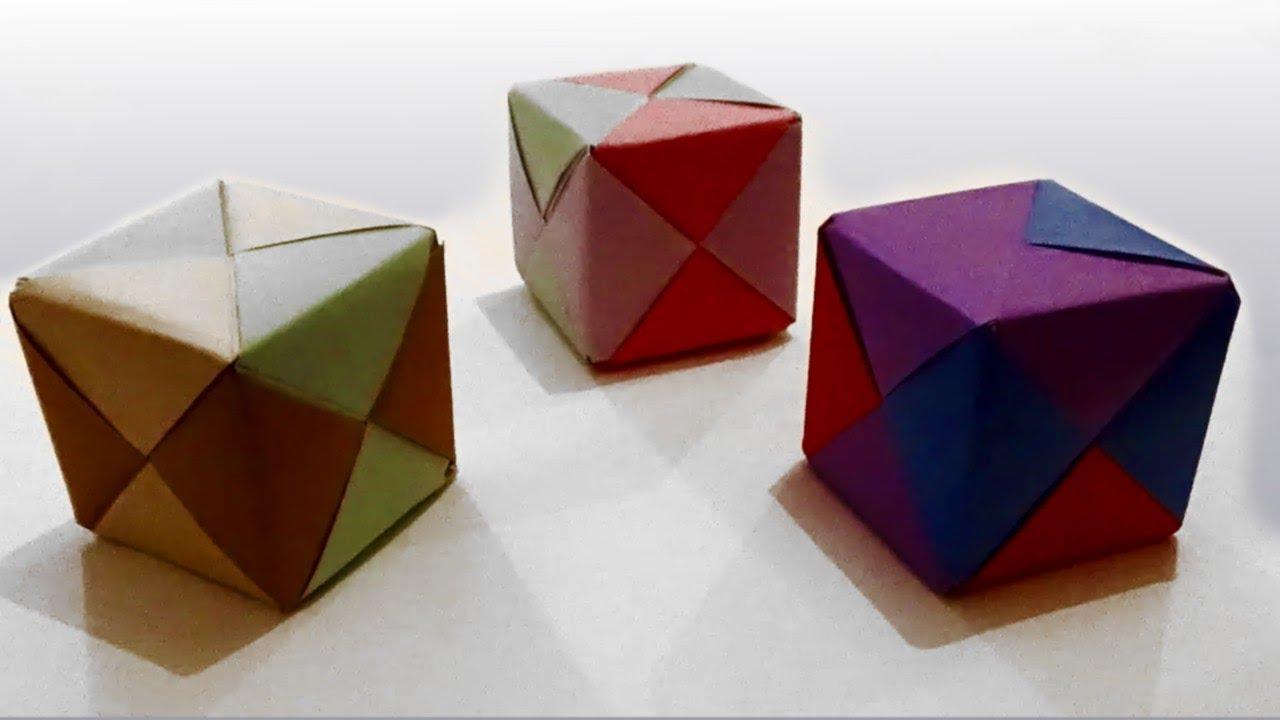 Como hacer un cubo de papel facil origami caja de - Como hacer cajas de cartulina ...