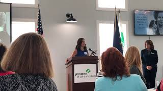 SMWC MLD student accepts the 2018 Community Leader Award from Girl Scouts of Central Indiana