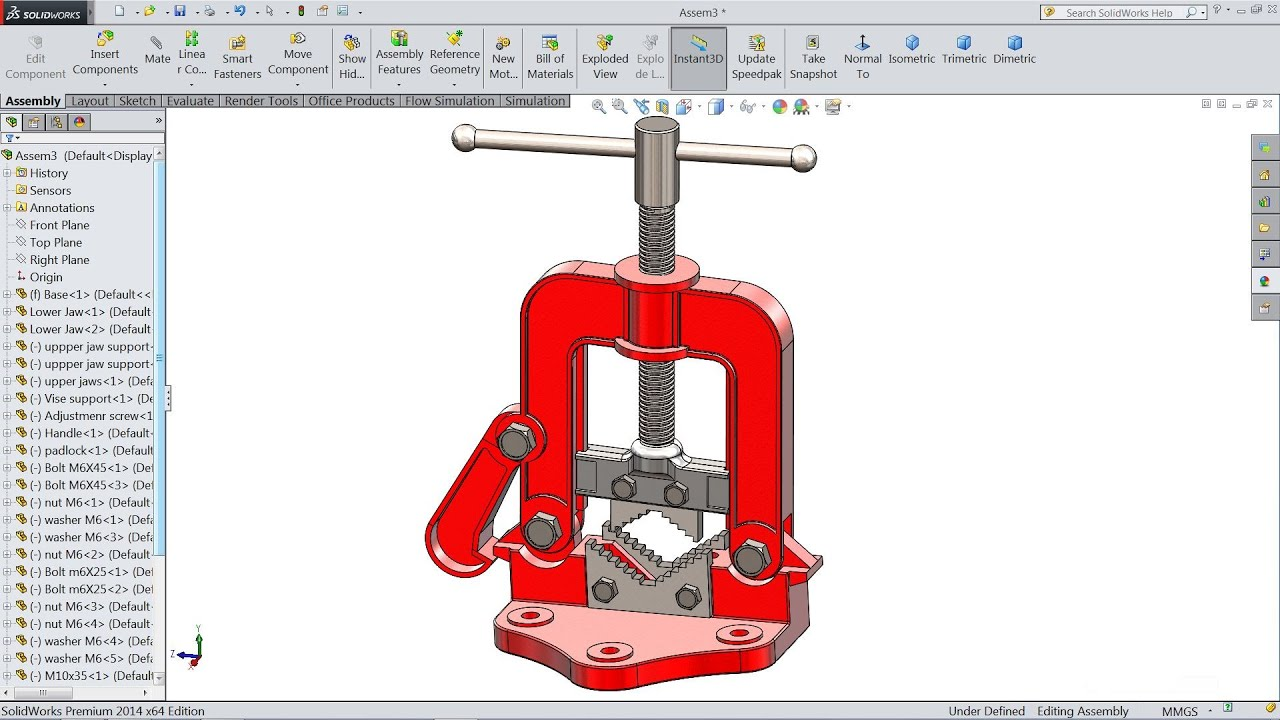 SolidWorks tutorial | Design And Assembly of Pipe vise in ...