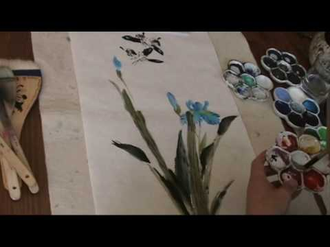 Painting Blue Butterfly Iris with Hake and Trimmed Brushes Watercolor Painting Demo