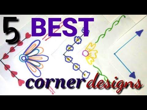 Best Corner Designs   Easy designs for project work   Simple Corner designs  for School Work