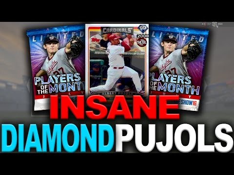 INSANE 99 ALBERT PUJOLS!! PLAYERS OF THE MONTH PACKS - MLB THE SHOW 16 DIAMOND DYNASTY PACK OPENING