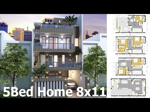 Sketchup House Plan 8x11m 4 Story Plan with 5 Bedroom