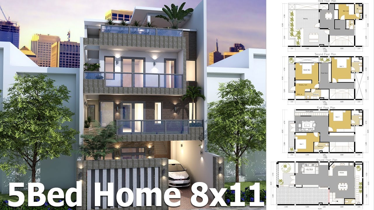 home plans design sketchup house plan 8x11m 4 story plan with 5 bedroom 12378
