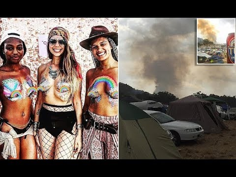 Out of control bushfire JUST misses popular music festival